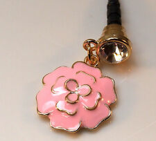Pink Enamel Flower Dust Plug For Mobile Phone.