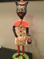16� Halloween Monnie Wilson Papier Mache Black Cat Girl Trick or Treater