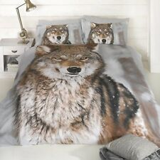 KING SIZE DUVET COVER SET WOLF PHOTOGRAPHIC PRINT DESIGN WILD LIFE ANIMAL