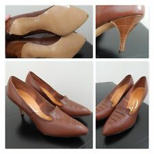 Nos~True Vintage Shoes/Heels/Pumps/Stilett os Brown Pinup Rockabilly Vtg Sz 6Aa