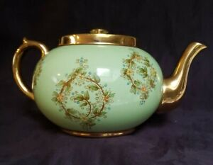 Vintage Gibson Teapot Green Floral Gold Staffordshire England VGUC