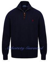 Ralph Lauren Polo Men's Half Zip Sueded Rib Cotton Jumper Navy S - XXL RRP £120