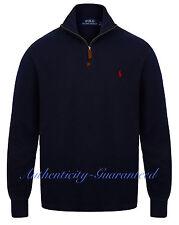 Ralph Lauren Polo Men\u0027s Half Zip Sueded Rib Cotton Jumper Navy/Grey/Red RRP