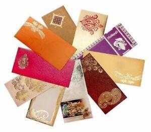 Shagun Gift Envelope (Pack of 50) Assorted Color Designs Money Holder Card