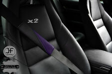2X BLACK & PURPLE LEATHER TWO TONE LUXURY SHOULDER SEAT BELT PADDED PADS