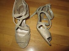 m&s gold sparkle high heel peep toe cage shoes size 7 eu 40.5 brand new tags