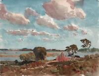 GEORGE GRAINGER SMITH 1892-1961 Watercolour Painting ESTUARY & HOUSES c1930