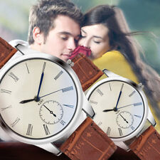 Fashion Women Mens Watch Analog Casual Brown Leather Strap Couple Watches