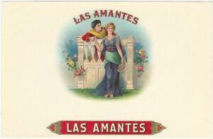Las Amantes Vintage Cigar Box Label w/ Man & Woman in Roman Clothes at Gate