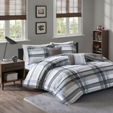 BEAUTIFUL MODERN CHIC GREY BLACK WHITE COZY PLAID STRIPE COMFORTER SET & PILLOWS