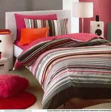 PINK BLACK WHITE METALLIC STRIPES QUEEN bed  DOONA QUILT DUVET COVER SET NEW