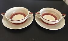 More details for pair of susie cooper 'wedding band' soup coupes & stands twin-handled