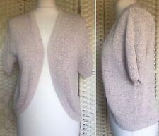Ladies Women's Beige Stone Knit Shrug Short Sleeved Cardigan - UK Size 12