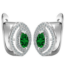 Women New Fashion 925 Silver Jewelry Emerald Studs Dangle Earring Gift