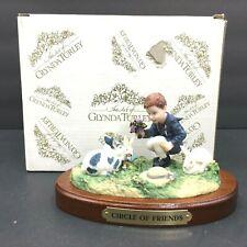 Vintage Glynda Turley Circle Of Friends Figurine 1988 Boy Flowers Bunny Rabbits