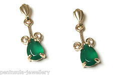 9ct Gold Green Agate Drop dangly Earrings Gift Boxed Made in UK