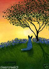 Australian Cattle Dog Blue Heeler LARGE Art PRINT Todd Young TEXAS BLUEBONNETS