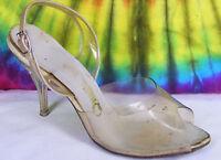 5.5-6 vintage 50's clear lucite heels stiletto slingback peep-toe pumps shoes