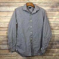 J. Crew Ludlow 120's 2 Ply Cotton Button Front Shirt Men's Size Small Brown Blue
