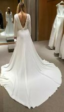 *NEW PRONOVIAS NAGORE £2570 BATEAU CREPE CRYSTAL WHITE TRAIN WEDDING DRESS*