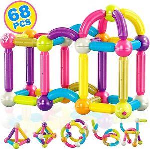 Kids Magnetic Stix Stick 68 PCs 3D Building Blocks STEM Construction Playboards