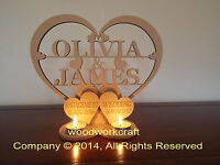 Personalised Tea light holder  2 names in Heart  Engagement Wedding Date