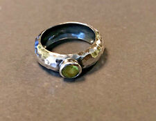 Silpada R1416 Green Peridot Ring .925 Sterling Silver Hammered SZ 6 rare