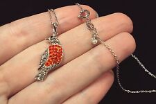"Robin Oriole Orange white gray crystal bird 925 silver plt pendant 18"" necklace"
