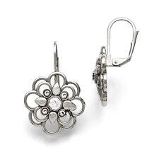 Stainless Steel Polished CZ Flower Leverback Earrings