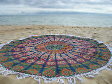 Round Mandala Indian Bohemian Red Tapestry Beach Picnic Throw Rug Tablecloth