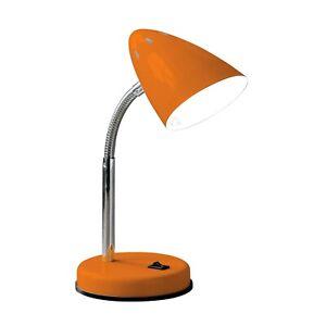 Adjustable Desk Lamp Orange Gloss Flexible Chrome Stem Reading Home Office Light