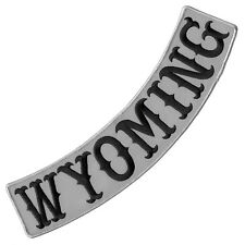 """VEGASBEE® WYOMING REFLECTIVE EMBROIDERED IRON-ON PATCH BIKER LOW ROCKER 12"""" USA"""