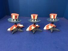 3 Patriotic Uncle Sam Hat American Flag Star Bobble Head 4th of July Figurines