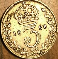 1926 UK GREAT BRITAIN SILVER THREEPENCE