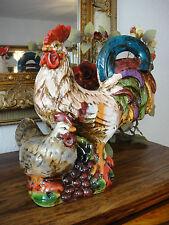 Keramik Figur Gockel Hahn Henne handbemalt Skulptur Gartenfigur Landhaus Deko
