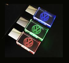 VW Car Logo Metal USB 2.0 Flash Drive Stick 8/16/32 GB Red/Blue/Green LED Light