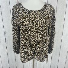 PINK REPUBLIC Size Large Womens Long Sleeve Front Knot Cheetah Print Blouse NWT