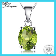 [ Oval Natural Green Peridot Birthstone Solitaire Pendant 925 Sterling Silver ]