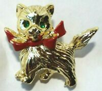 VINTAGE CAT PIN Gold RED ENAMEL BOW Green RHINESTONE EYES Petite Christmas