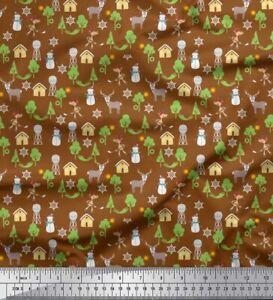 Soimoi Cotton Poplin Fabric Tree,Snowman & Reindeer Cartoon Print-pv3