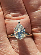 Ring in Real 14K White Gold 2.45Ct Pear Cut White Solitaire Diamond Engagement