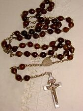 Old/Antique/Vintage Irish Catlle Horn Beads Rosary - Silver & Ebony Cross