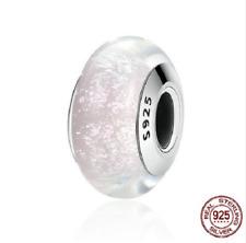 100% 925 Sterling Silver White Pattern European Murano Glass Beads Charm pandora