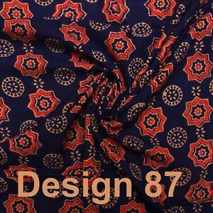 Bagru Block Printed Navy Blue Orange 100% Cotton Women Dress Craft Fabric By Mtr