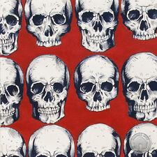 112000027 - Rad Skull Red White & Navy Blue Alexander Fabric by the Yard Biker
