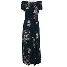 Maurices Women Maxi Dress Off Shoulder Stretch Ruffle Floral Pocket Dark Teal XS