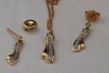 Set Ohrstecker Ohrringe Kette Anhänger Diamant 585 Gold Neu wertig