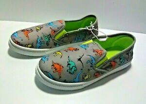 OT Revolution Boy's Casual Slip-On Shoes - Gray with Dinosaur Print - Size: 3