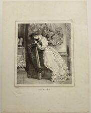 """Lithographie, E. DEVERIA, """"La prière"""""""