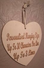Personalised Hanging Wooden Heart Any Message Engraved